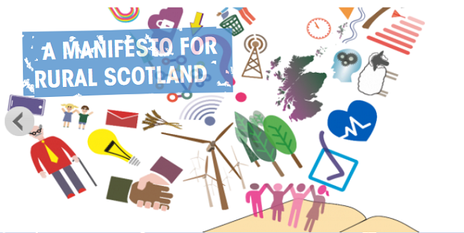 Graphic with text A Manifesto for Rural Scotland