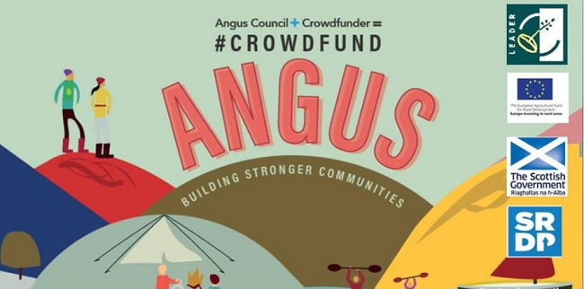 Graphic with hills and people and text 'Crowdfunding Angus'