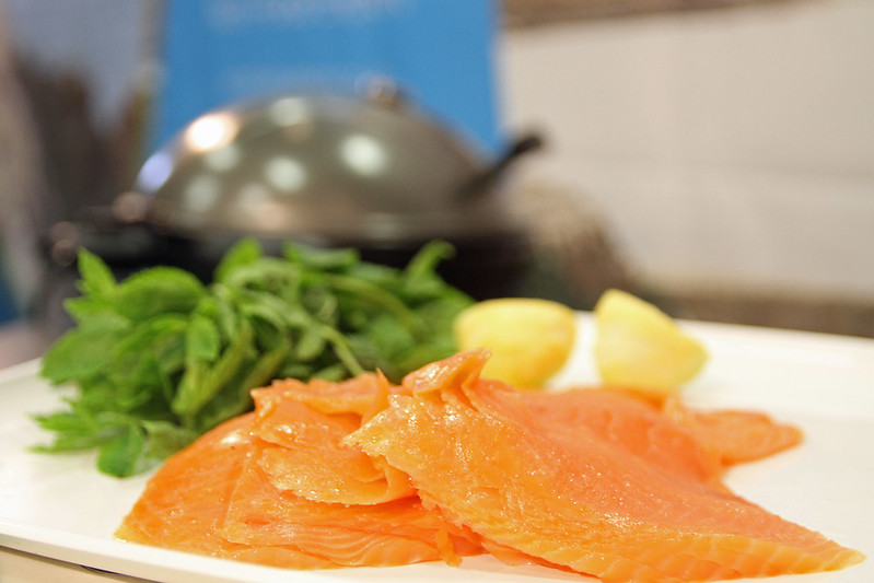 Smoked salmon on platter