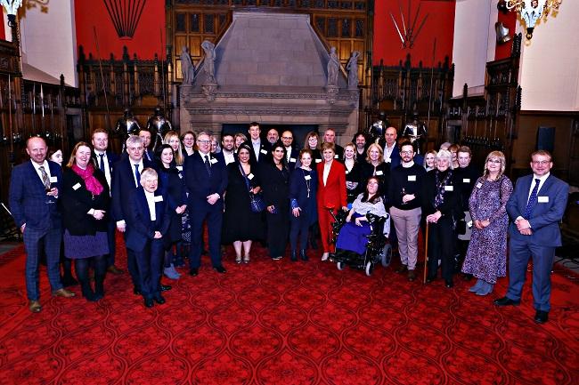 First Minister Nicola Sturgeon with 2019 SCVO Scottish Charity Awards finalists at Edinburgh Castle 6 Jan 2020 photo credit Lewis J Houghton