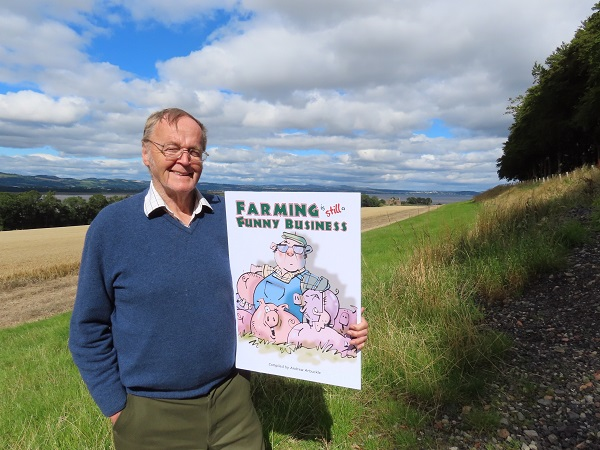 Andrew Arbuckle pictured with the cover of new book – Farming is Still a Funny Business.