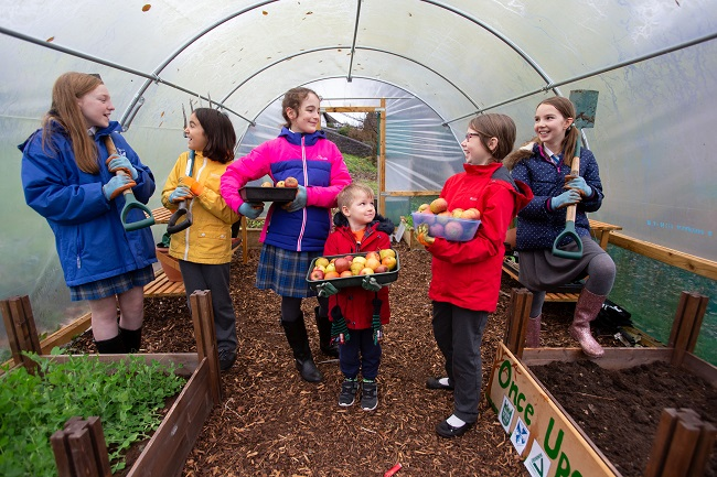Children in polytunnel at project supported by Tesco Bags of Help