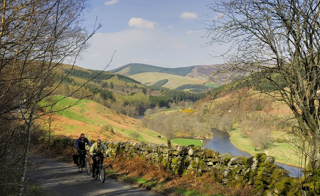 Cyclists in Walkerburn
