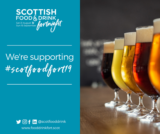 Scottish Food and Drink Fortnight logo and text with image of craft beers