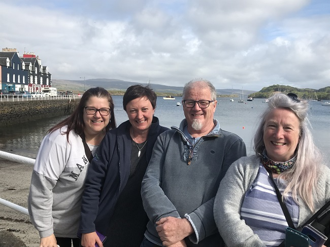 Ros Halley (Community Connections Manager) and Marion Elkin-Greener (Community Development Officer) and the film crew Prancing Jack Productions on Mull