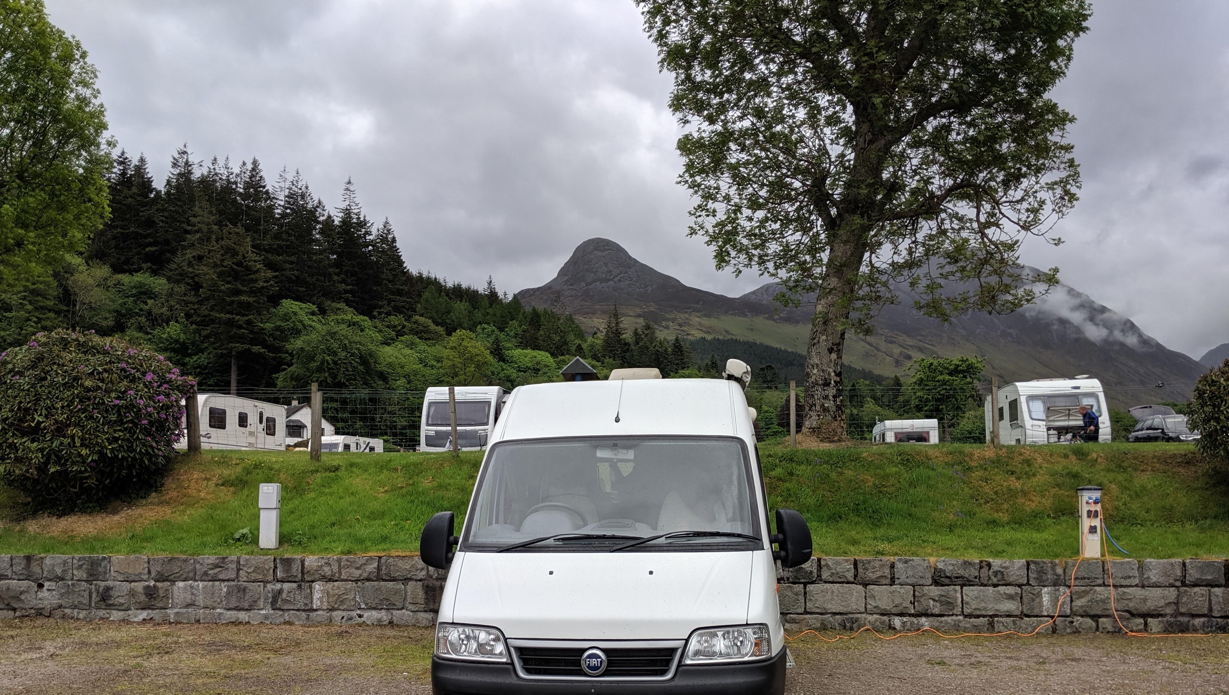 Campervan in scottish campsite