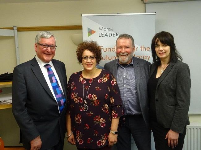 Cabinet Secretary Fergus Ewing with Moray LEADER Team - Davina Maclennan, Norman MacAskill and Michelle Gillibrand