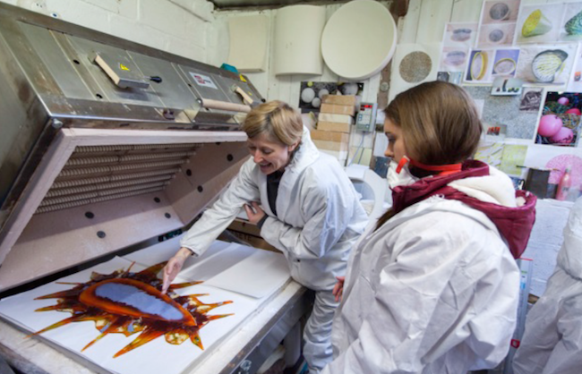 Photo from Upland Creative Network showing two women looking at image in workshop