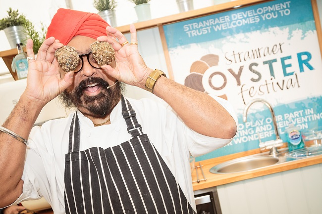 Tony Singh with oysters