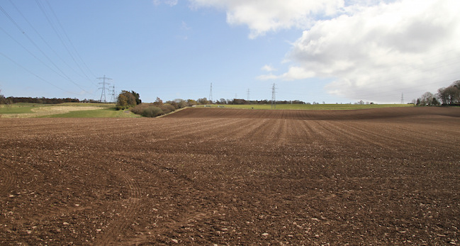 Freshly sown field, Balrobert Farm, near Inverness.