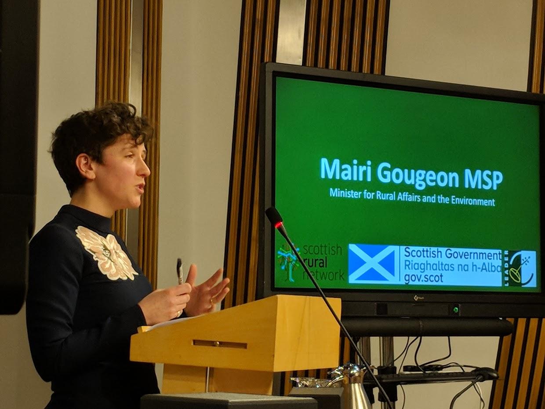 Mairi Gougeon delivering her keynote speech