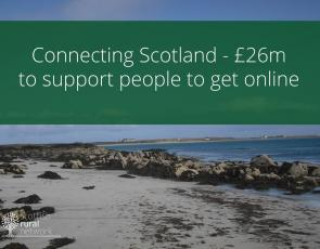 Beach on Tiree with banner headline: Connecting Scotland