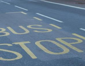 Bus Stop written on road