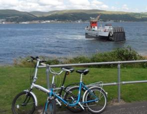 Bikes with ferry in backgound