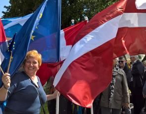 people holding flags at Estonia Rural Parliament