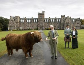 David Leggat, Vice-Chairman of RSABI, Louisa Forysth & Leon Christie, Glenalmond School Captains, and Donald the Highland Bull