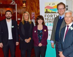 L to R Stuart Oliver + Carol Beattie from Stirling Council, Anne-Michelle Ketteridge LEADER Manager, Neil Bennie Deputy Leader of the Council, and Peter Sunderland LEADER LAG Chair
