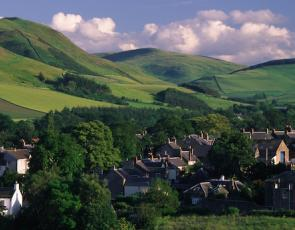 Scottish Borders village with hills in background, copyright Keith Robeson
