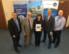 (L-R) Graeme Dey, MSP for Angus South; Dougie Pond, Angus LEADER chairman; Kathy Anderson, Angus CAB and AFIP chair; David Tollick, Angus LEADER programme coordinator; and Grahame Conning, Angus Council welfare reform officer at a meeting to discuss the report today