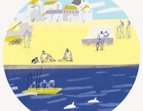 graphic of coastal scene with sea and beach