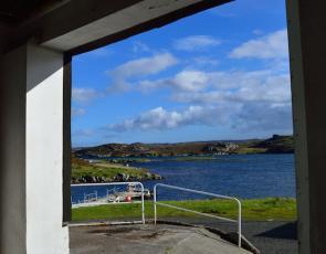 View of loch through window