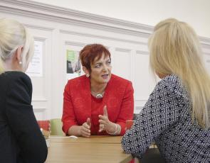 Social Security Secretary Angela Constance meeting with people at  Macmillan Hub at the Pearce Institute in Govan