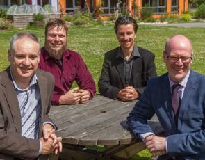 Richard Lochhead MSP, Jason Caddy, Paddy Atkinson, Housing Minister Kevin Stewart