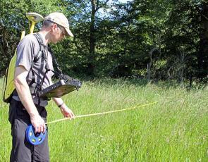 Man measuring field