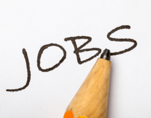 pencil writing the word, jobs