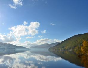 Sky reflected in Scottish Loch