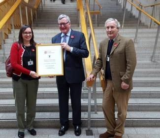 Lucy Beattie, Fergus Ewing MSP, Gordon Robertson at Scottish Parliament