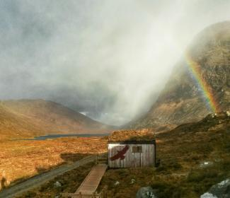 North Harris Eagle Observatory with rainbow above