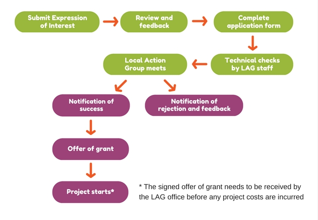 Graphic showing the LEADER application process