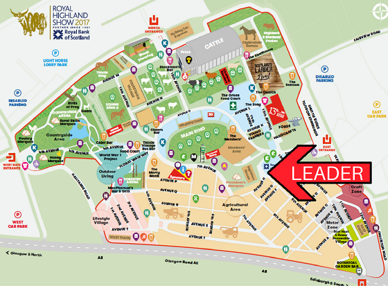 Map of Royal Highland Show ground with arrow pointing to LEADER event