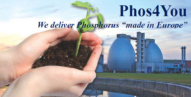 graphic with hands holding soil and text Phos4You 'we delivery phosphporus made in Europe'
