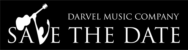 guitar logo with writing saying Darvel Music Company Save the Date
