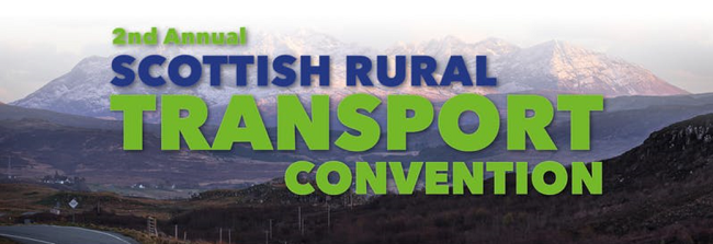 Scottish Rural Transport Convention text over rural landscape