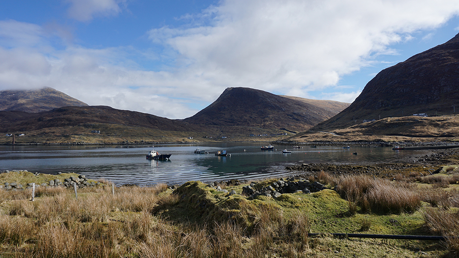 Rural scene with Mountains, loch and boats