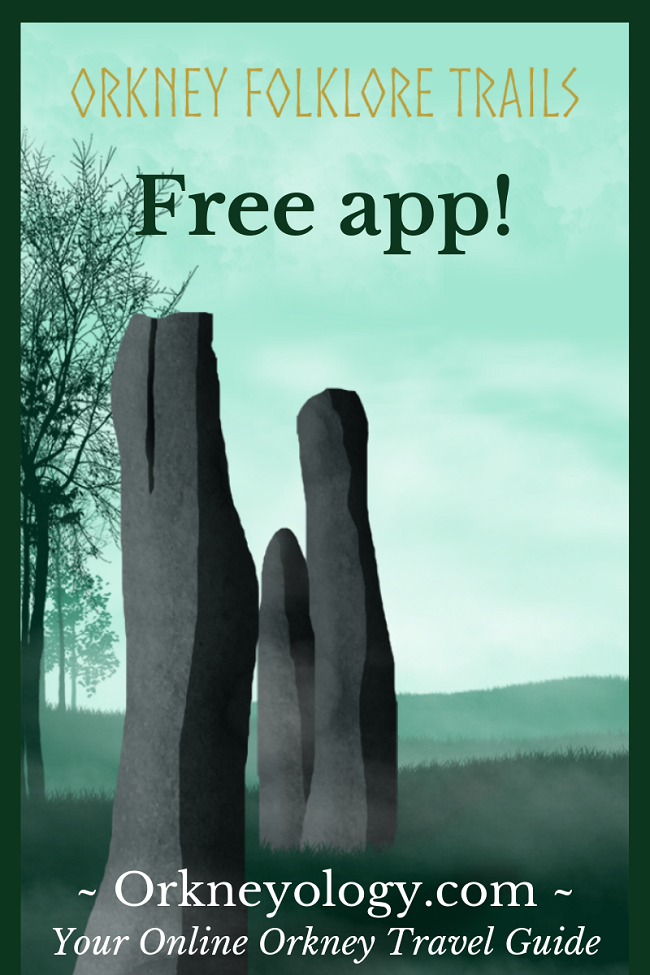 Orkney Folklore Trail app graphic with standing stones