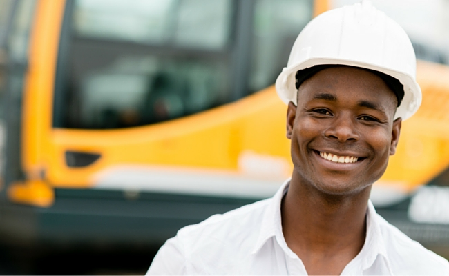 Man with hardhat on