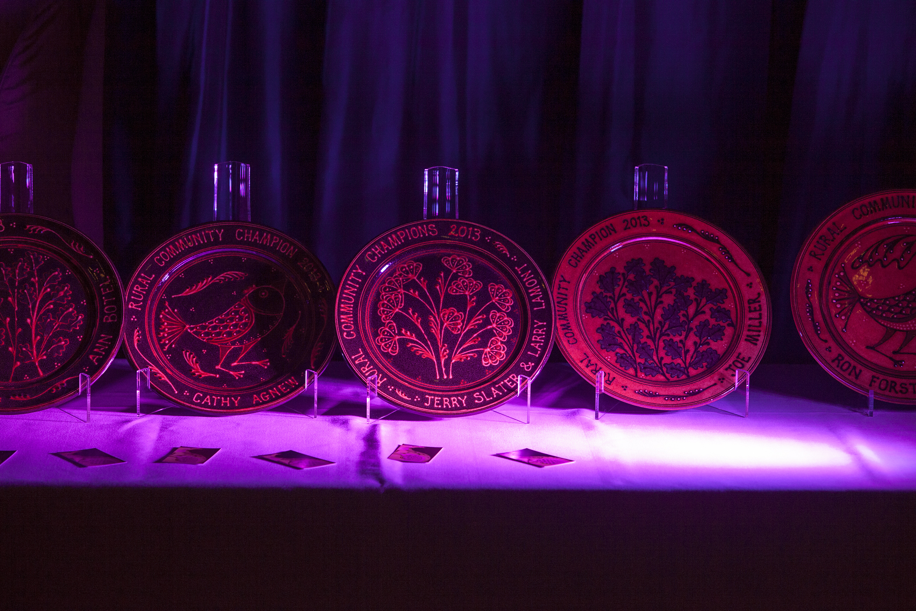 A picture of the rural award trophies