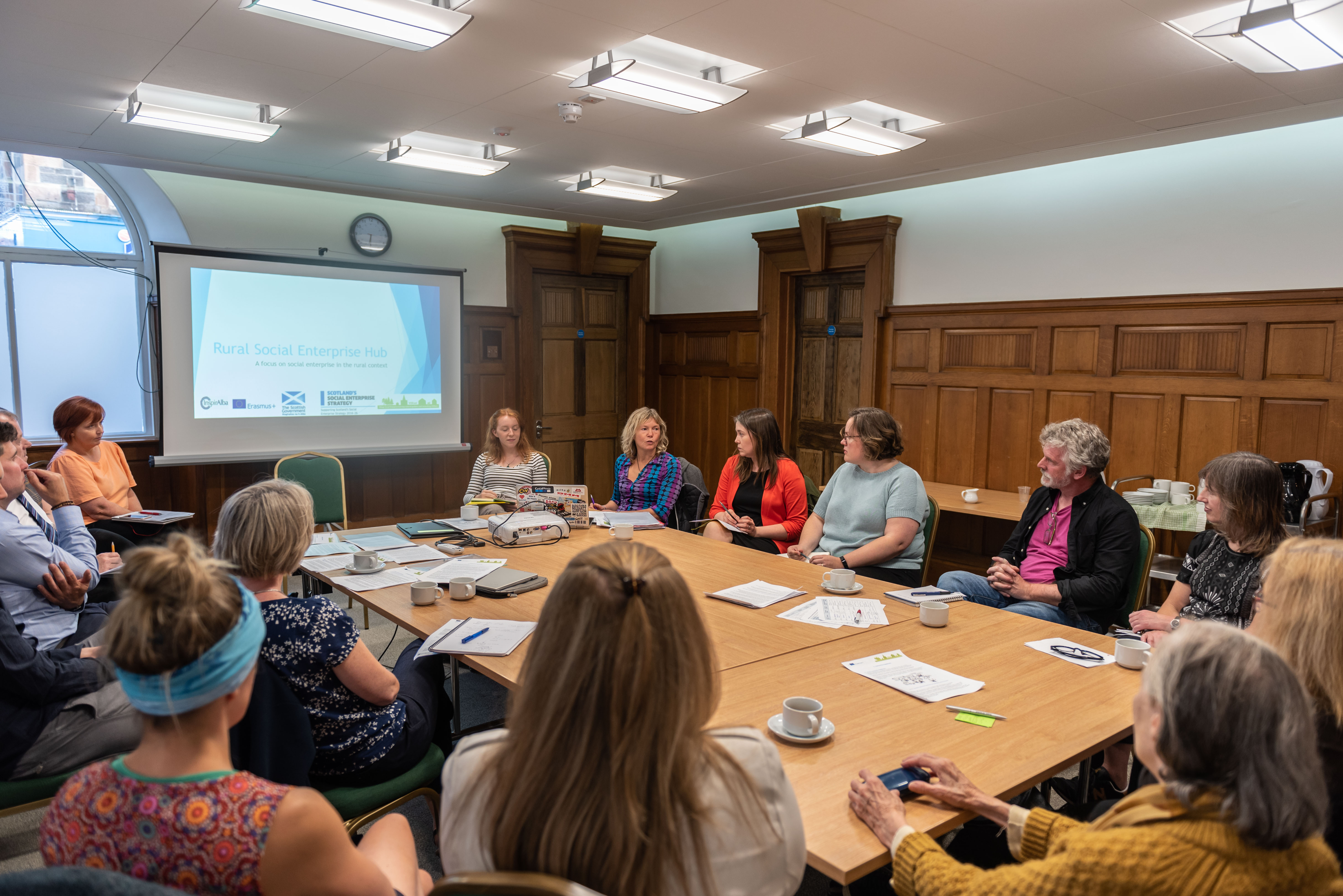 The Inspiralba working group meets to discuss the proposed rural hub for social enterprise in scotland