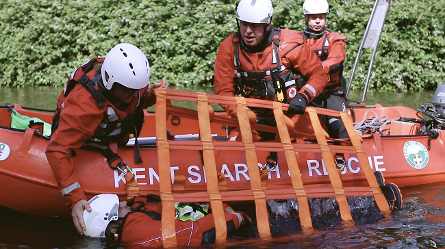search and rescue team using lifeboat