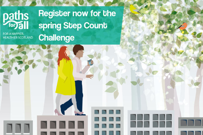 Graphic with people walking and text: Register now for the Spring Step Count Challenge