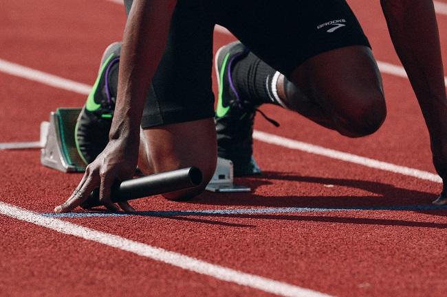 sprinter at starting blocks
