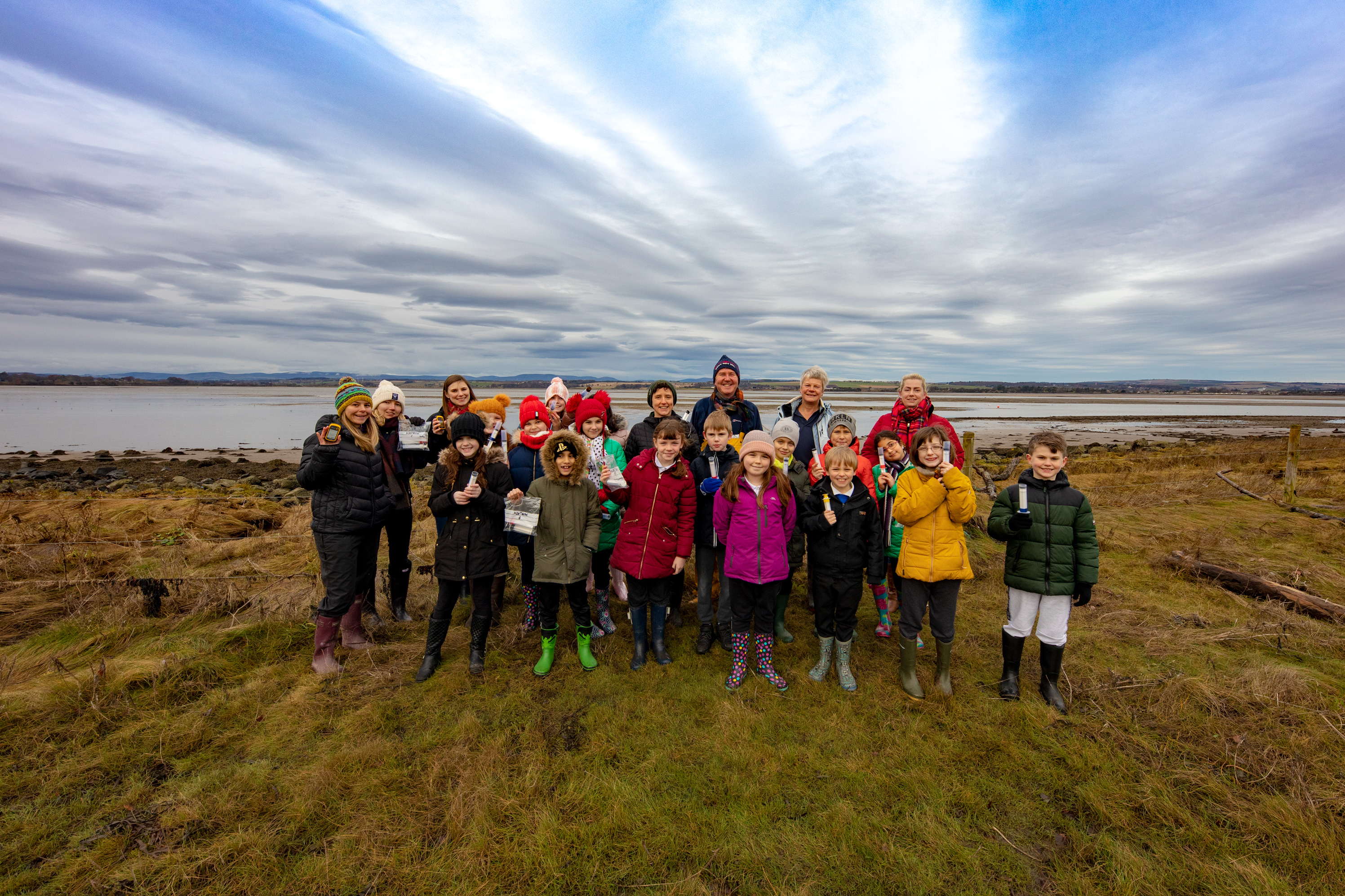 Mairi Gougeon MSP with St. Margarets Primary School pupils in Montrose Basin. Photo credit St Andrews University