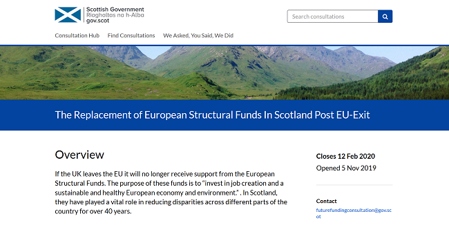 screenshot of Scottish Government consultation website