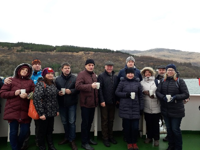 The Estonian group on the ferry