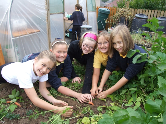 Children at community growing project