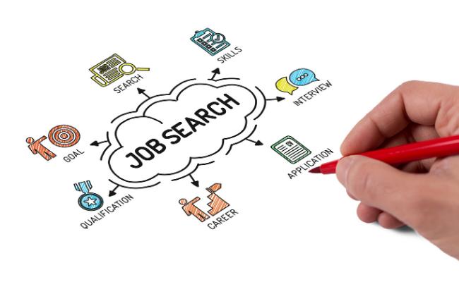 Hand drawing job search illustration